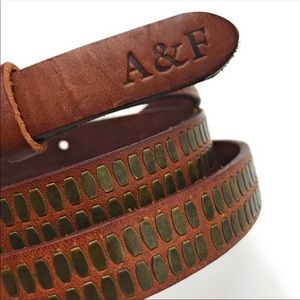 Abercrombie & Fitch Studded Brown Leather Belt M/L